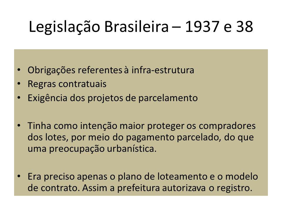 Legislação Brasileira – 1937 e 38