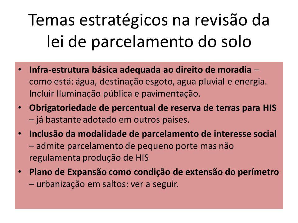 Temas estratégicos na revisão da lei de parcelamento do solo