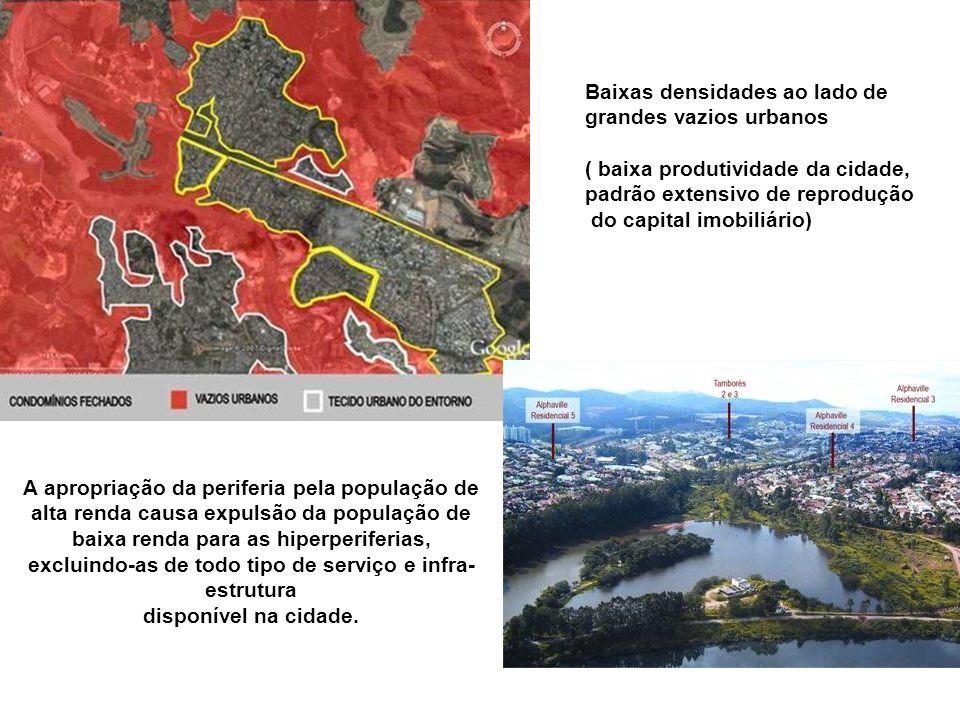 Baixas densidades ao lado de grandes vazios urbanos