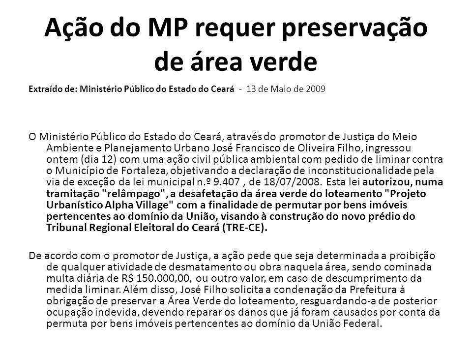 Ação do MP requer preservação de área verde