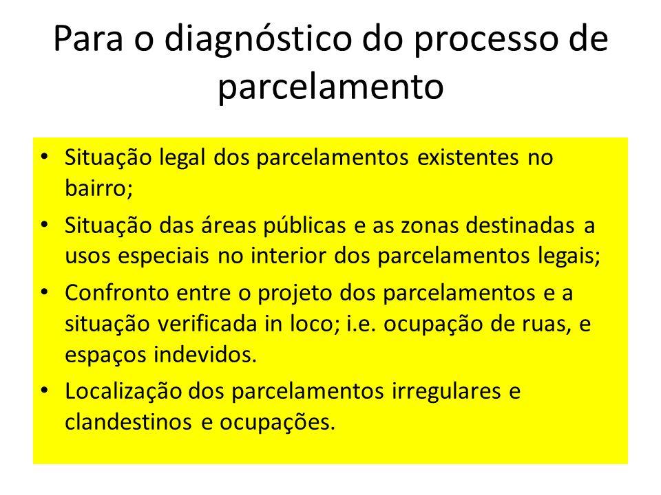 Para o diagnóstico do processo de parcelamento