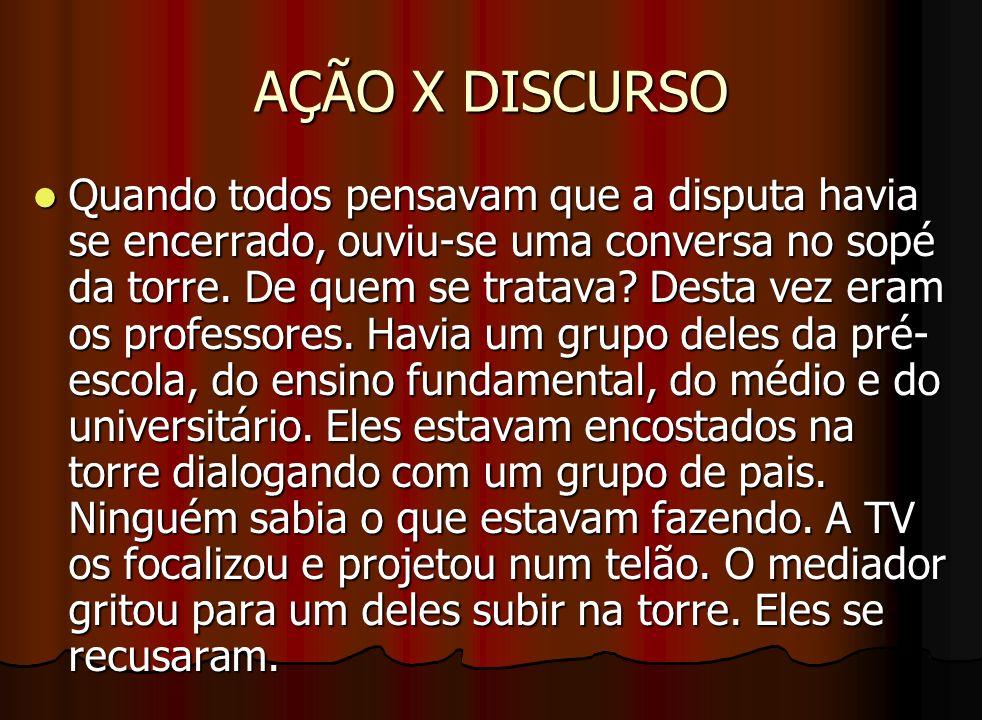 AÇÃO X DISCURSO