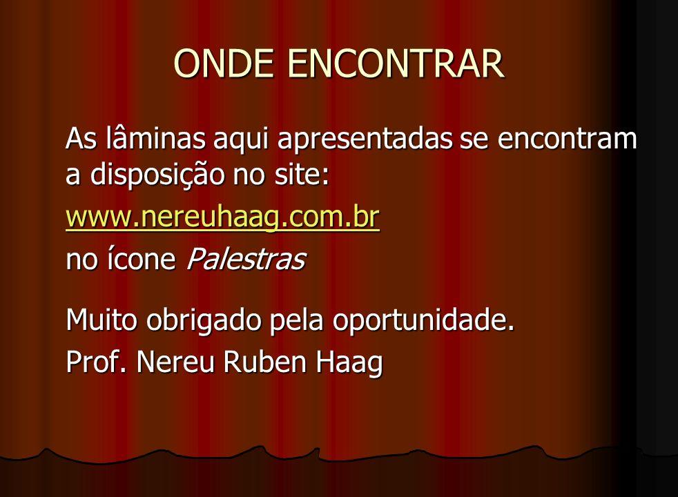 ONDE ENCONTRAR As lâminas aqui apresentadas se encontram a disposição no site: www.nereuhaag.com.br.
