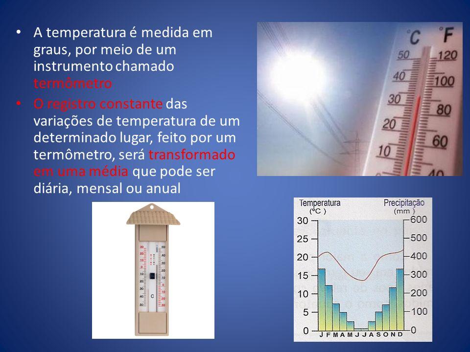 A temperatura é medida em graus, por meio de um instrumento chamado termômetro
