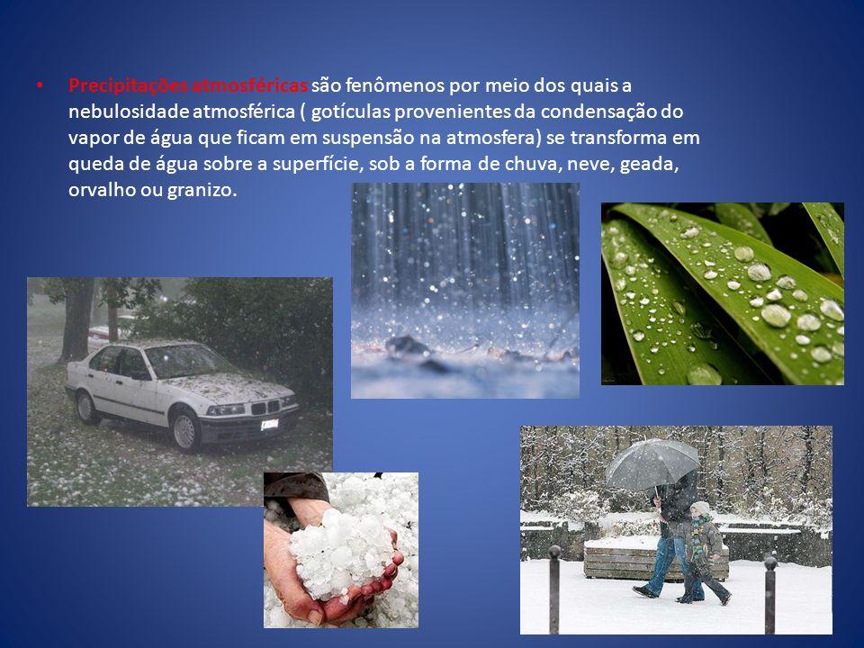 Precipitações atmosféricas são fenômenos por meio dos quais a nebulosidade atmosférica ( gotículas provenientes da condensação do vapor de água que ficam em suspensão na atmosfera) se transforma em queda de água sobre a superfície, sob a forma de chuva, neve, geada, orvalho ou granizo.