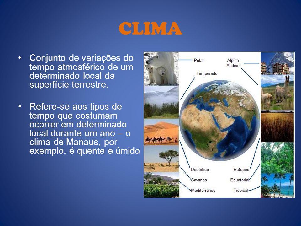 CLIMA Conjunto de variações do tempo atmosférico de um determinado local da superfície terrestre.