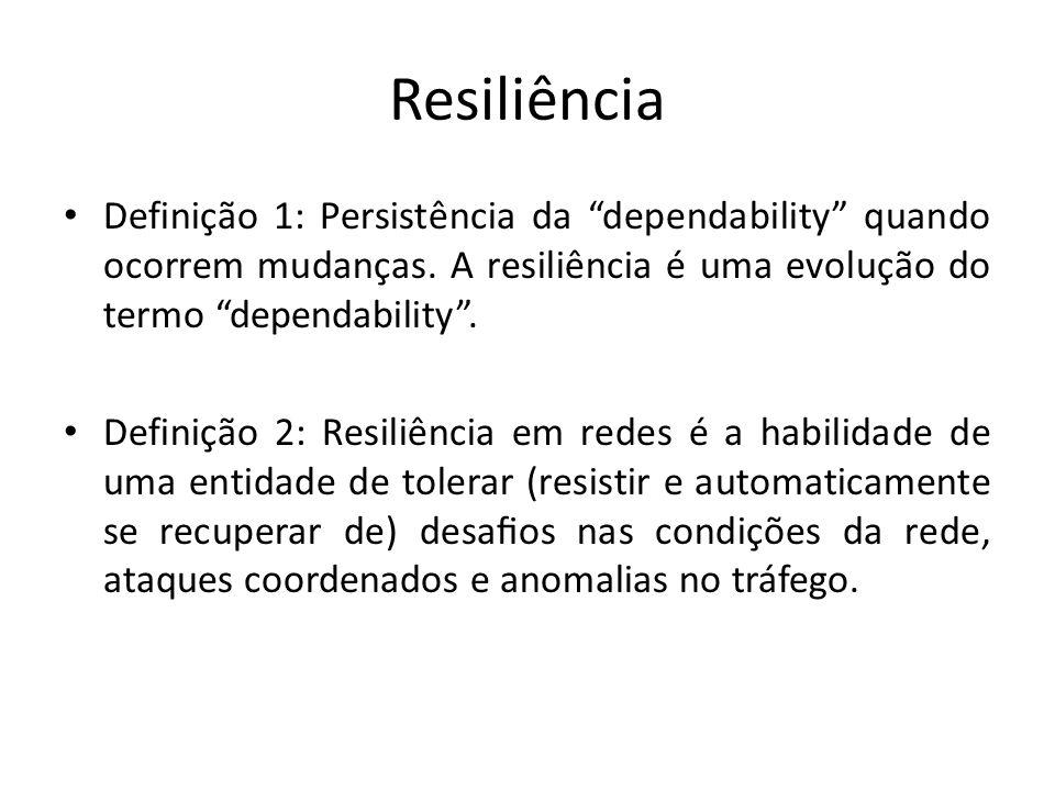 Resiliência Definição 1: Persistência da dependability quando ocorrem mudanças. A resiliência é uma evolução do termo dependability .
