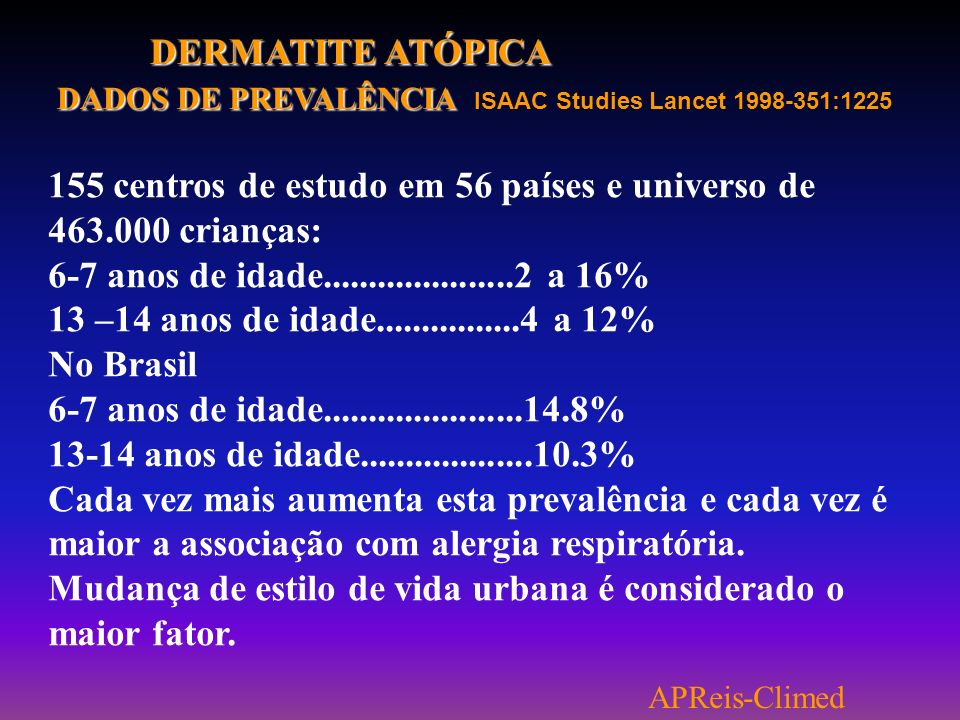 DADOS DE PREVALÊNCIA ISAAC Studies Lancet 1998-351:1225