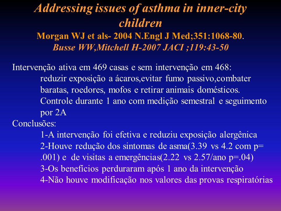 Addressing issues of asthma in inner-city children Morgan WJ et als- 2004 N.Engl J Med;351:1068-80. Busse WW,Mitchell H-2007 JACI ;119:43-50