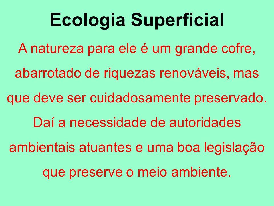 Ecologia SuperficialA natureza para ele é um grande cofre, abarrotado de riquezas renováveis, mas que deve ser cuidadosamente preservado.