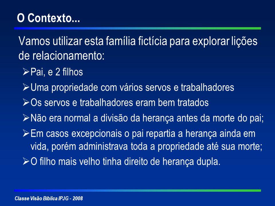 O Contexto... Vamos utilizar esta família fictícia para explorar lições de relacionamento: Pai, e 2 filhos.