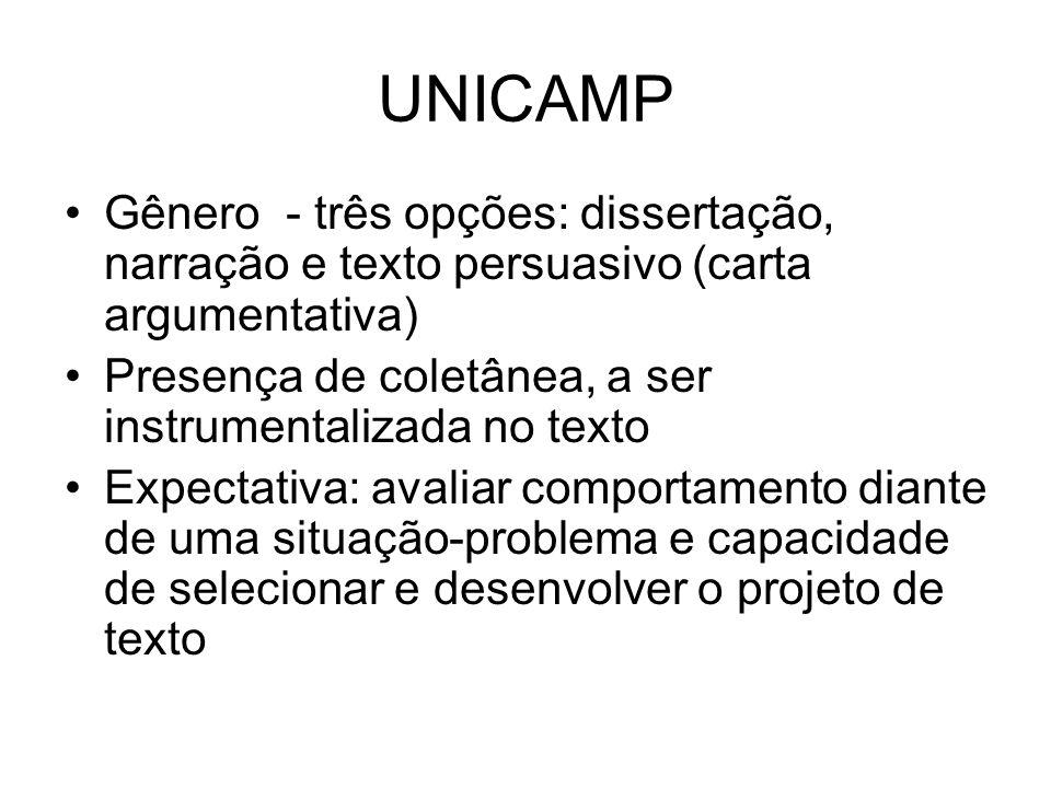 UNICAMPGênero - três opções: dissertação, narração e texto persuasivo (carta argumentativa) Presença de coletânea, a ser instrumentalizada no texto.