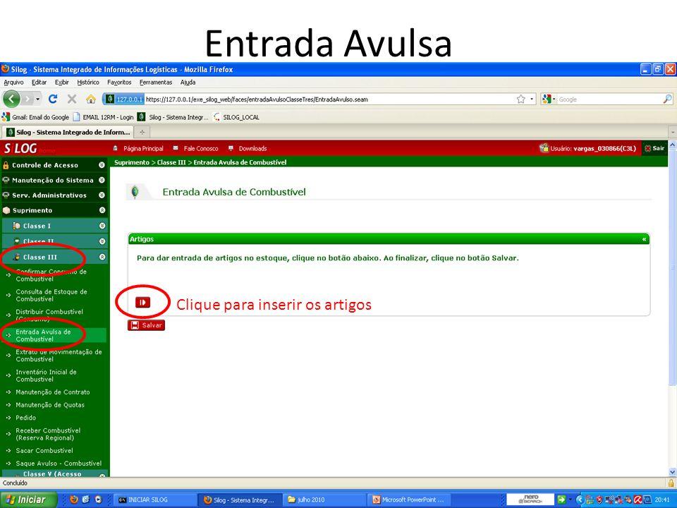 Entrada Avulsa Clique para inserir os artigos 18