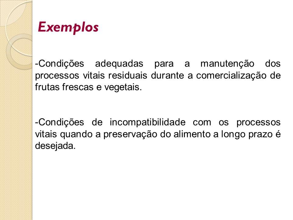 Exemplos Condições adequadas para a manutenção dos processos vitais residuais durante a comercialização de frutas frescas e vegetais.