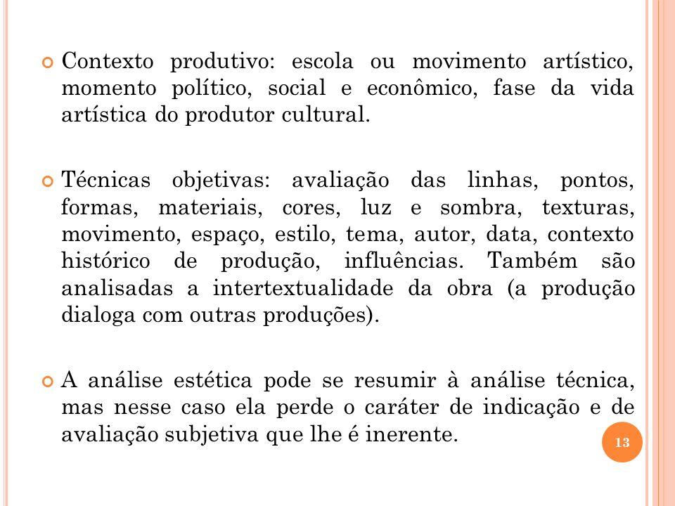 Contexto produtivo: escola ou movimento artístico, momento político, social e econômico, fase da vida artística do produtor cultural.