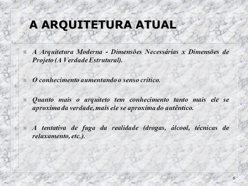 A ARQUITETURA ATUAL A Arquitetura Moderna - Dimensões Necessárias x Dimensões de Projeto (A Verdade Estrutural).