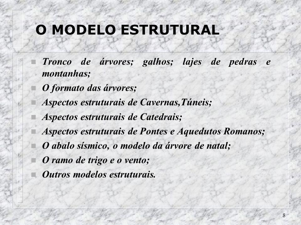 O MODELO ESTRUTURALTronco de árvores; galhos; lajes de pedras e montanhas; O formato das árvores; Aspectos estruturais de Cavernas,Túneis;