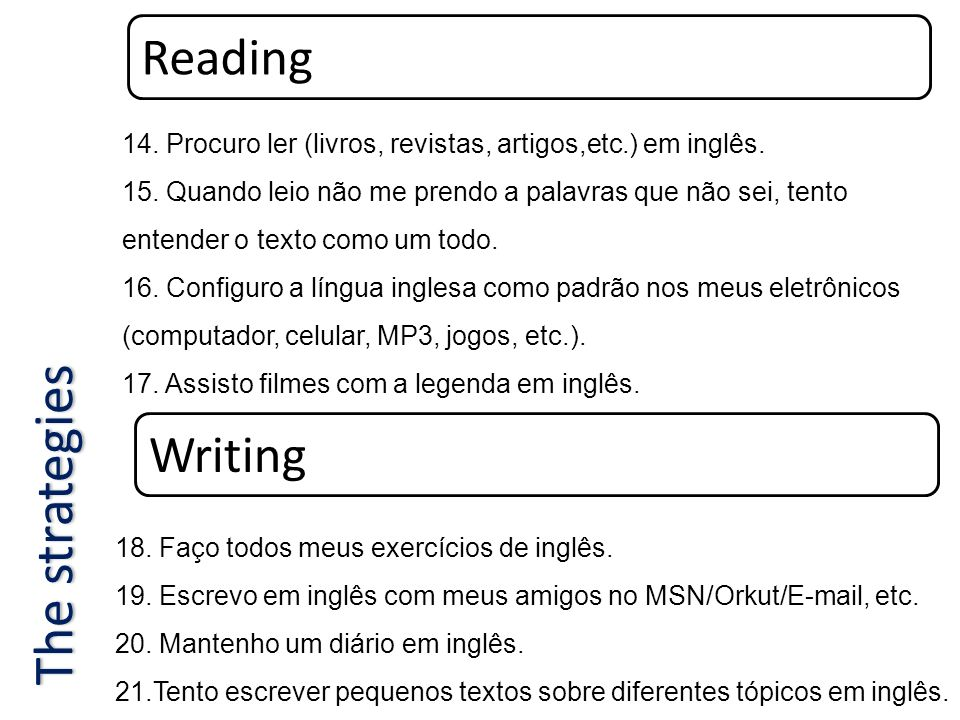 The strategies Reading Writing
