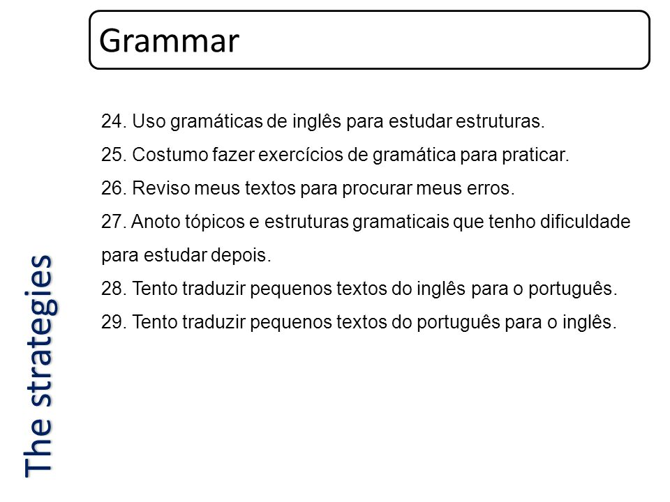 The strategies Grammar