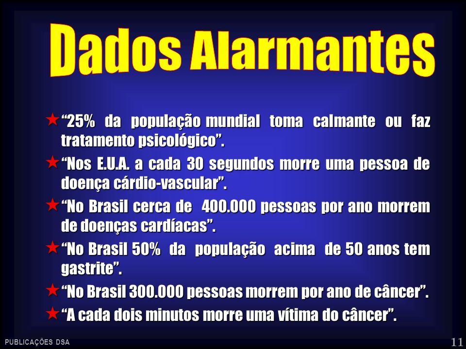 Dados Alarmantes 25% da população mundial toma calmante ou faz tratamento psicológico .
