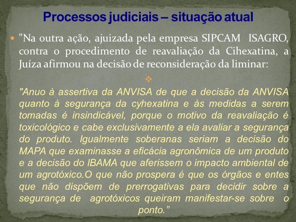 Processos judiciais – situação atual