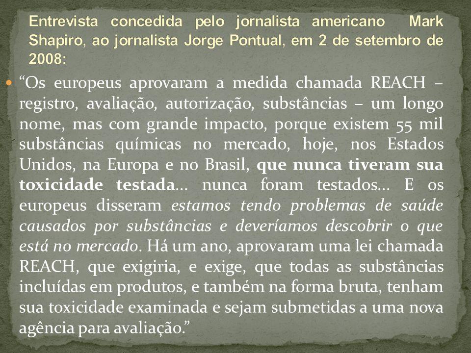 Entrevista concedida pelo jornalista americano Mark Shapiro, ao jornalista Jorge Pontual, em 2 de setembro de 2008:
