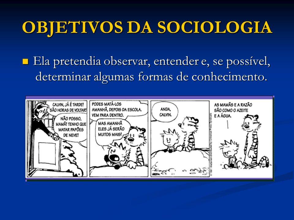 OBJETIVOS DA SOCIOLOGIA