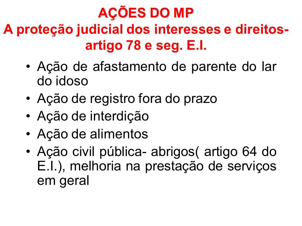 AÇÕES DO MP A proteção judicial dos interesses e direitos- artigo 78 e seg. E.I.