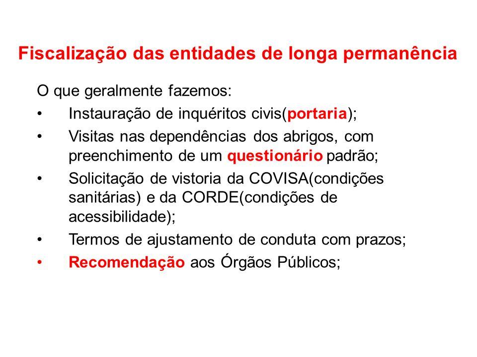 Fiscalização das entidades de longa permanência