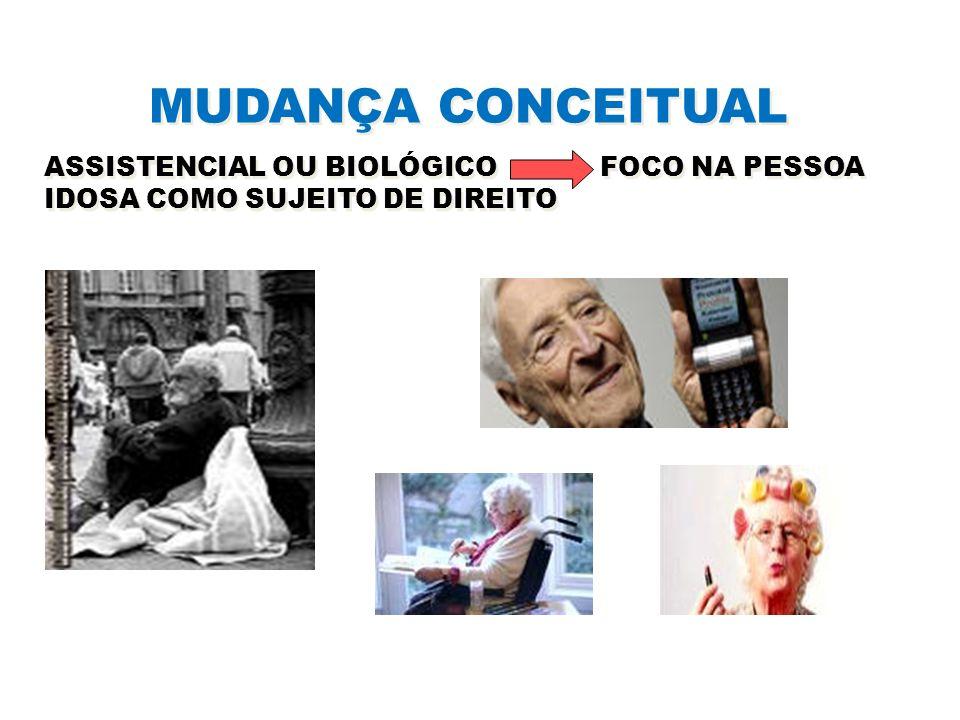 MUDANÇA CONCEITUAL ASSISTENCIAL OU BIOLÓGICO FOCO NA PESSOA IDOSA COMO SUJEITO DE DIREITO.