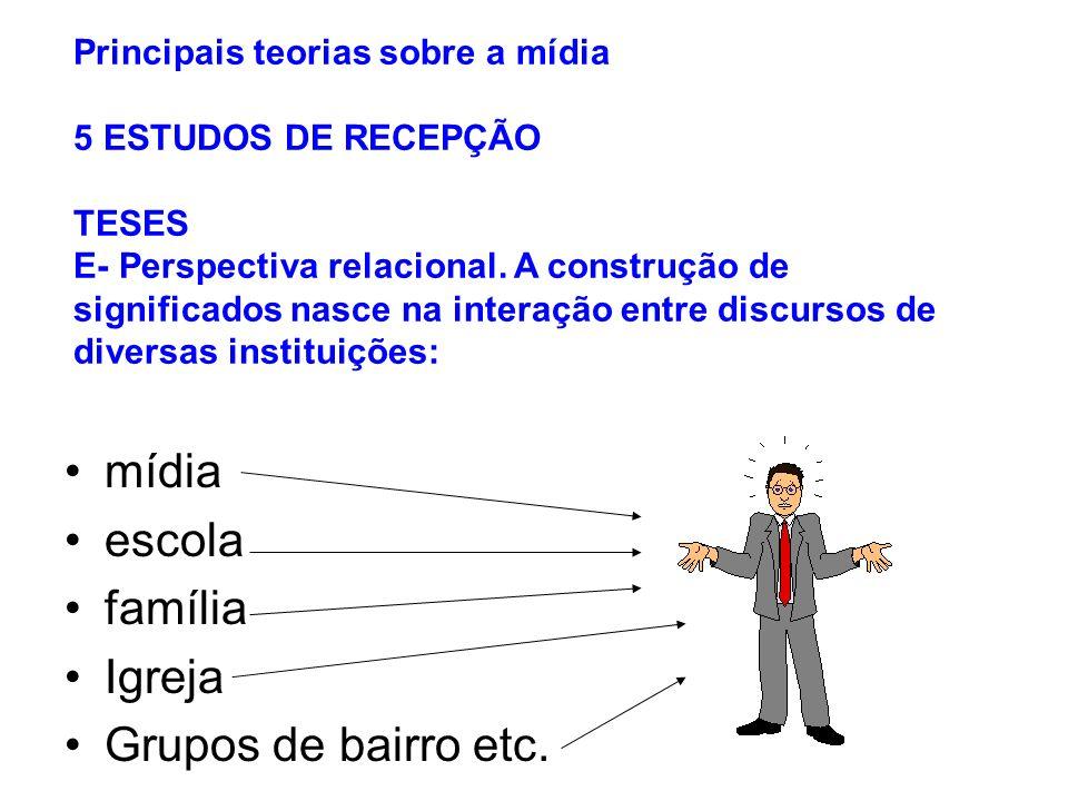 mídia escola família Igreja Grupos de bairro etc.
