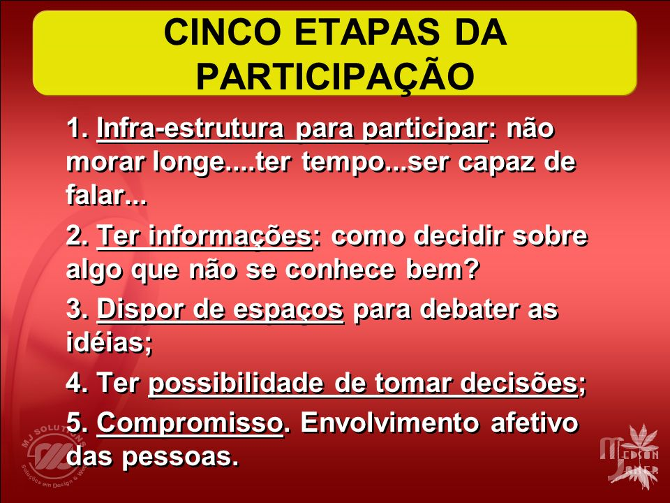 CINCO ETAPAS DA PARTICIPAÇÃO