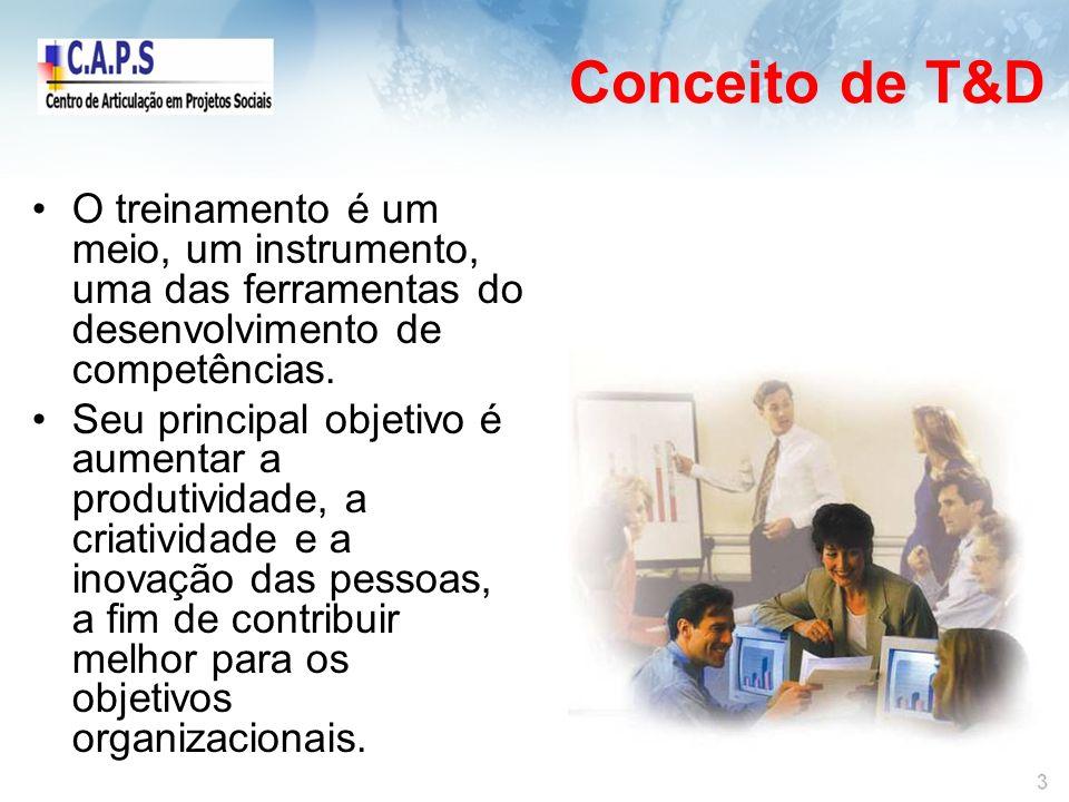 Conceito de T&D O treinamento é um meio, um instrumento, uma das ferramentas do desenvolvimento de competências.