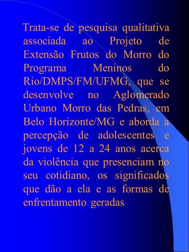 Trata-se de pesquisa qualitativa associada ao Projeto de Extensão Frutos do Morro do Programa Meninos do Rio/DMPS/FM/UFMG, que se desenvolve no Aglomerado Urbano Morro das Pedras, em Belo Horizonte/MG e aborda a percepção de adolescentes e jovens de 12 a 24 anos acerca da violência que presenciam no seu cotidiano, os significados que dão a ela e as formas de enfrentamento geradas
