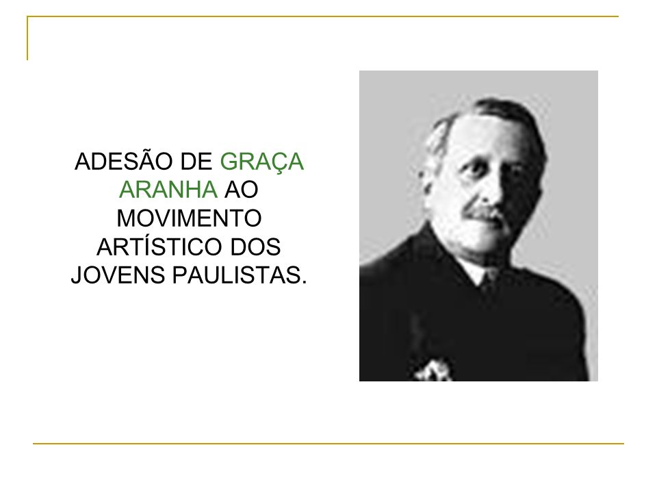 ADESÃO DE GRAÇA ARANHA AO MOVIMENTO ARTÍSTICO DOS JOVENS PAULISTAS.