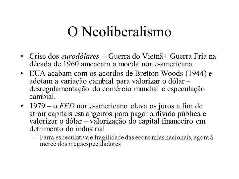 O NeoliberalismoCrise dos eurodólares + Guerra do Vietnã+ Guerra Fria na década de 1960 ameaçam a moeda norte-americana.