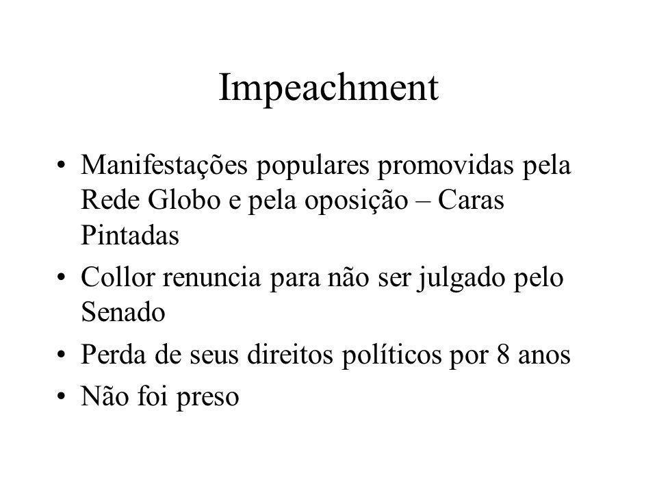 ImpeachmentManifestações populares promovidas pela Rede Globo e pela oposição – Caras Pintadas. Collor renuncia para não ser julgado pelo Senado.