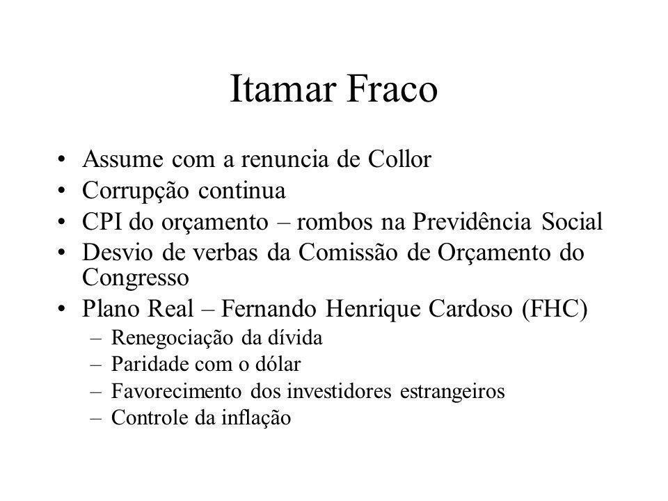 Itamar Fraco Assume com a renuncia de Collor Corrupção continua