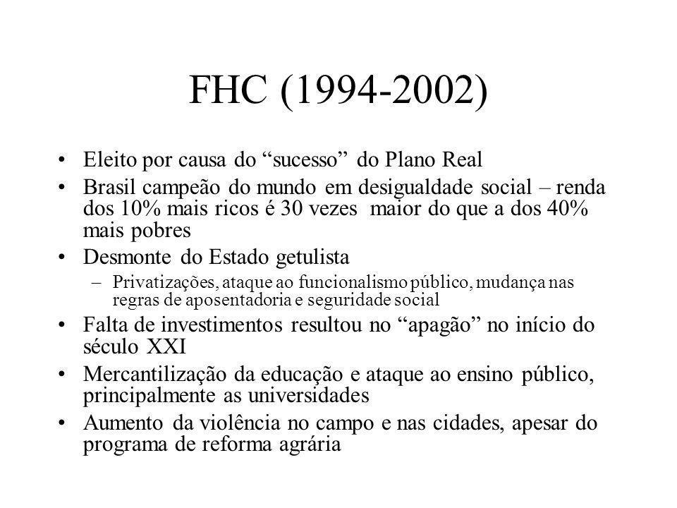 FHC (1994-2002) Eleito por causa do sucesso do Plano Real