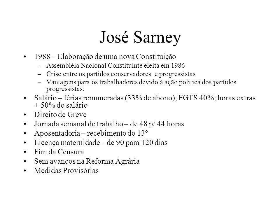 José Sarney 1988 – Elaboração de uma nova Constituição