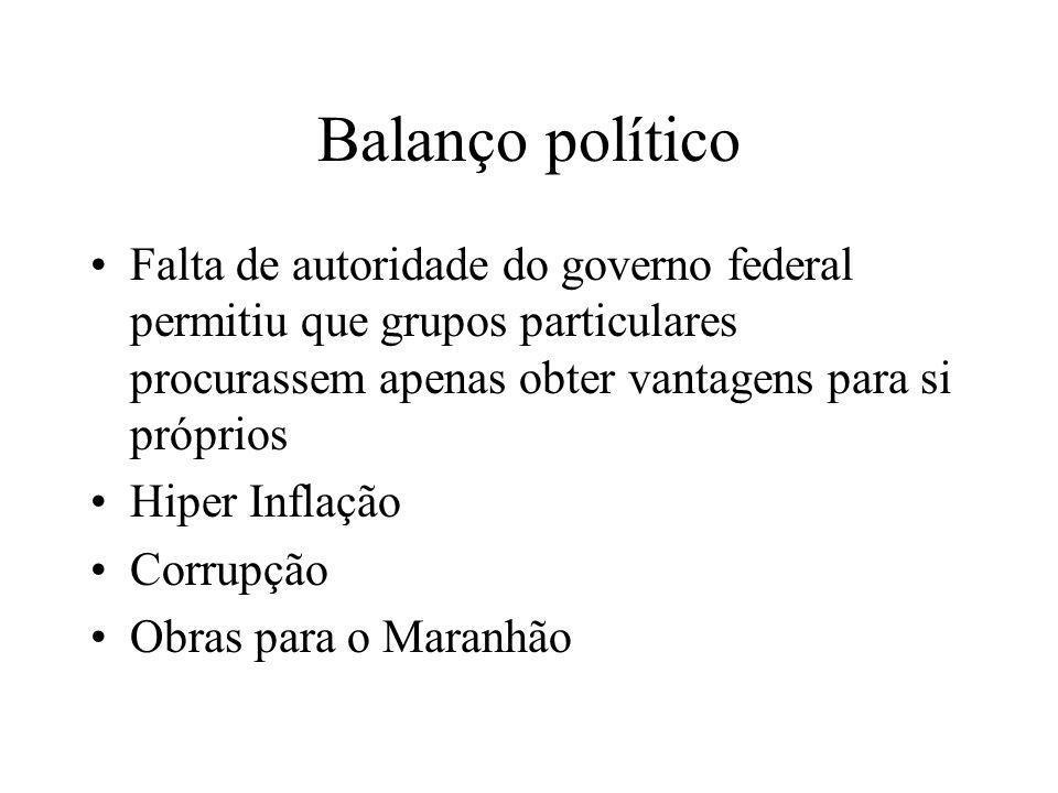 Balanço político Falta de autoridade do governo federal permitiu que grupos particulares procurassem apenas obter vantagens para si próprios.