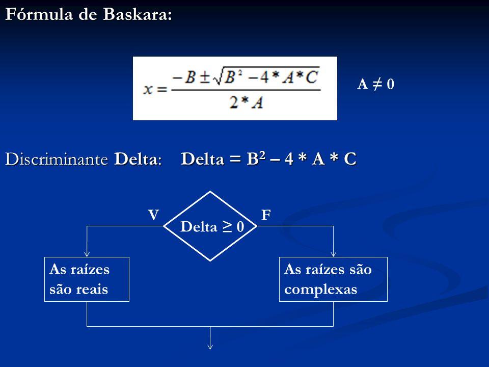 Discriminante Delta: Delta = B2 – 4 * A * C