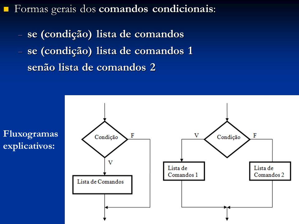 Formas gerais dos comandos condicionais: