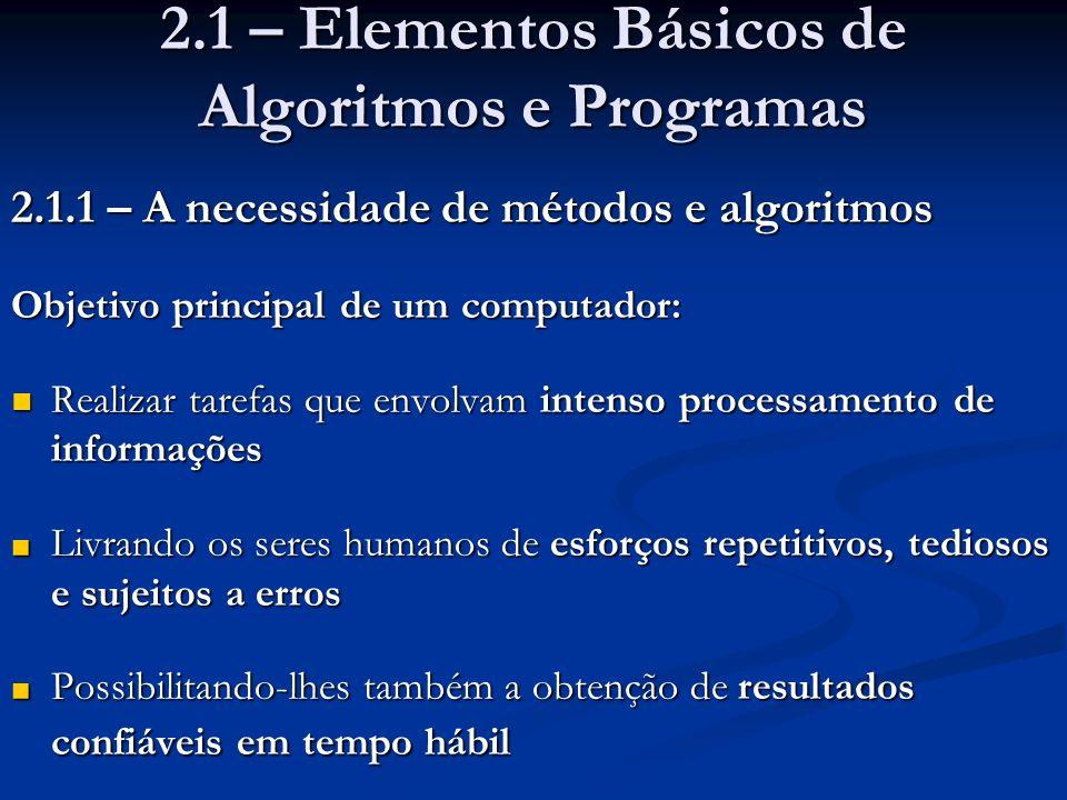 2.1 – Elementos Básicos de Algoritmos e Programas