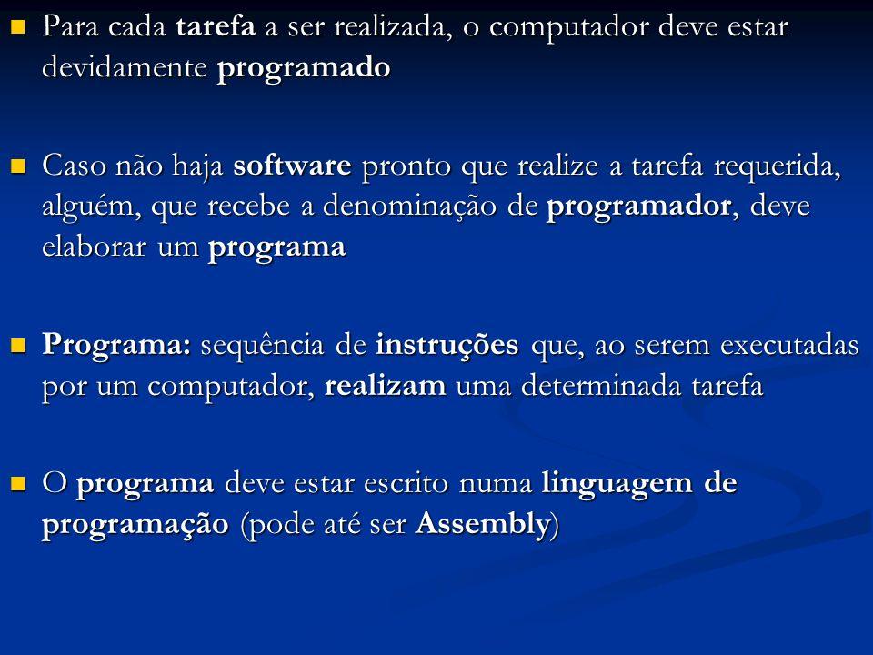 Para cada tarefa a ser realizada, o computador deve estar devidamente programado