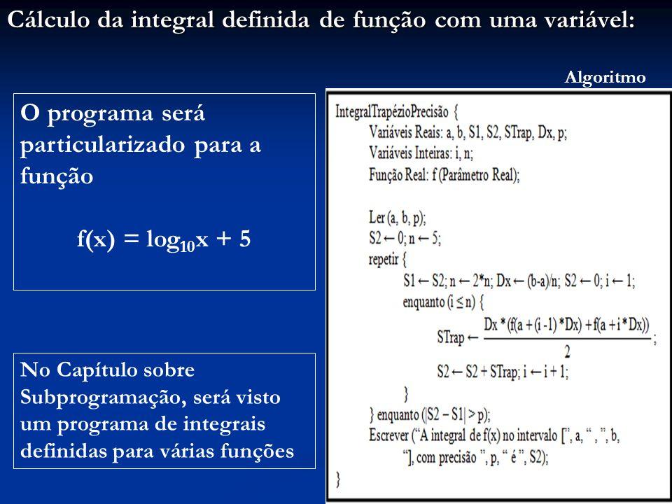 Cálculo da integral definida de função com uma variável: