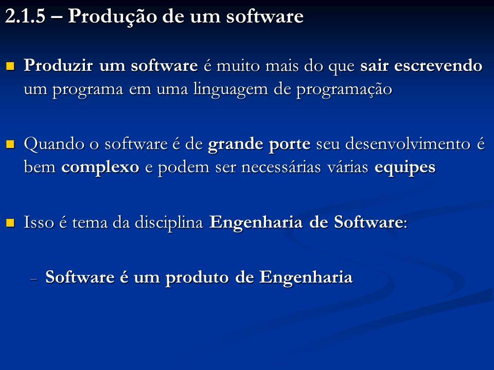 2.1.5 – Produção de um software