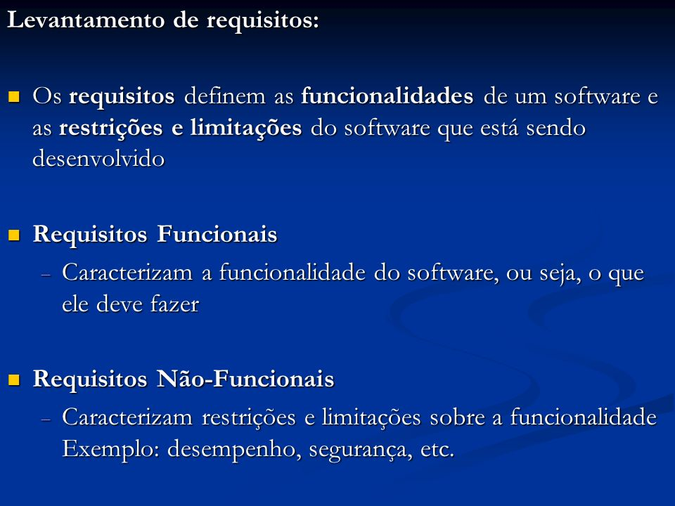 Levantamento de requisitos: