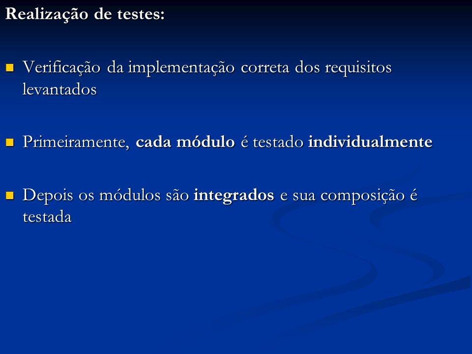 Realização de testes: Verificação da implementação correta dos requisitos levantados. Primeiramente, cada módulo é testado individualmente.