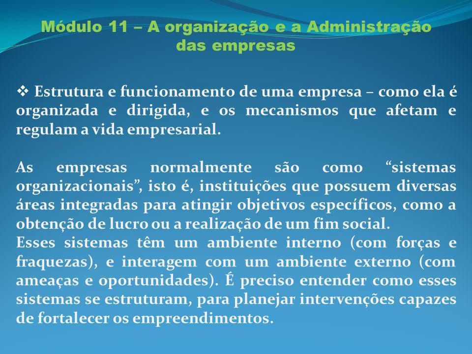 Módulo 11 – A organização e a Administração das empresas